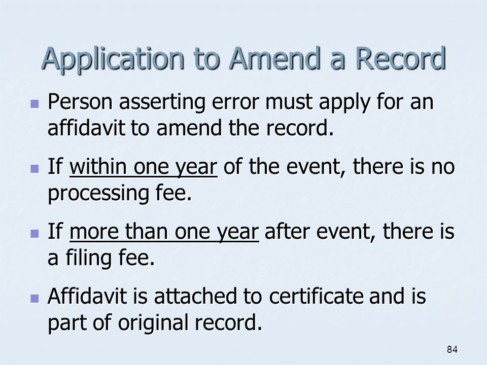 Application to Amend a Record