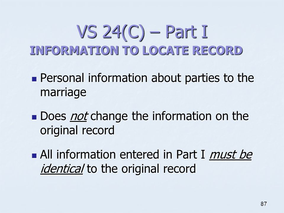 INFORMATION TO LOCATE RECORD