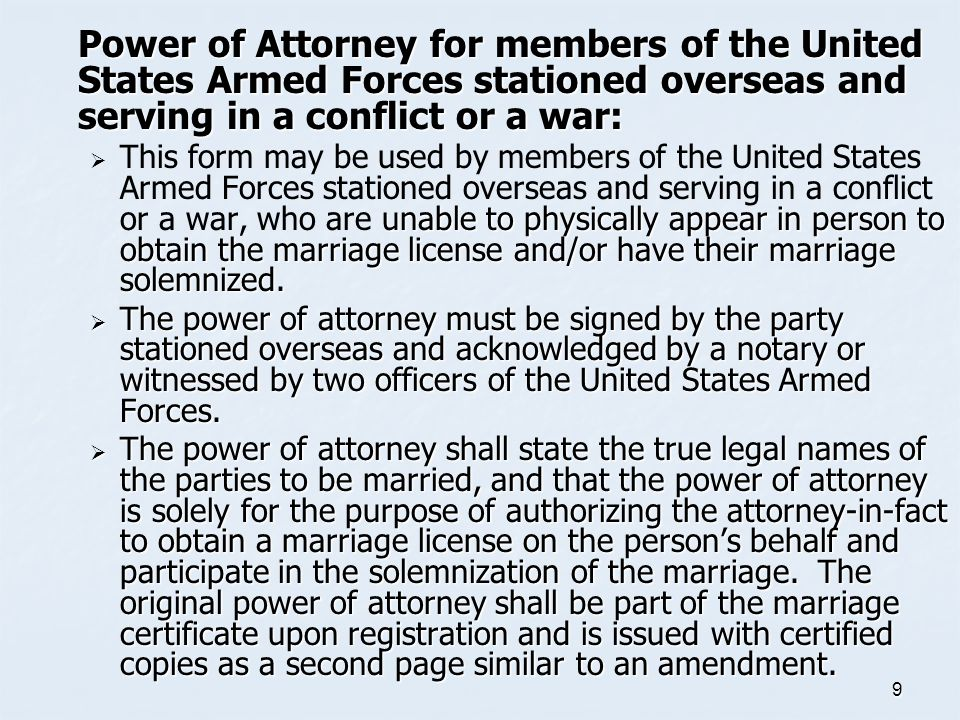 Power of Attorney for members of the United States Armed Forces stationed overseas and serving in a conflict or a war: