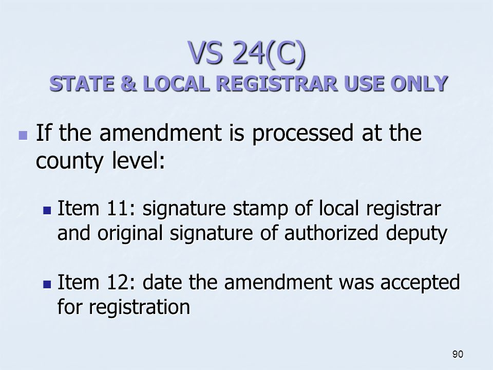 STATE & LOCAL REGISTRAR USE ONLY