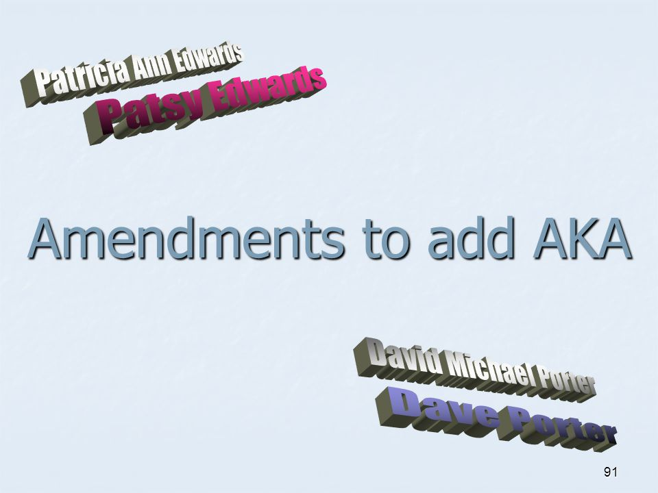 Amendments to add AKA Patricia Ann Edwards Patsy Edwards