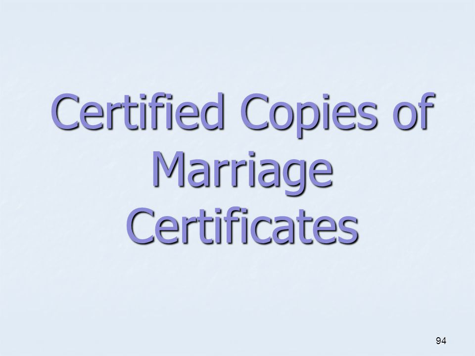 Certified Copies of Marriage Certificates