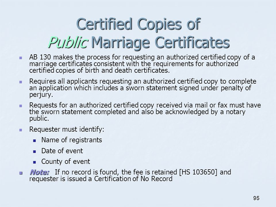 Certified Copies of Public Marriage Certificates