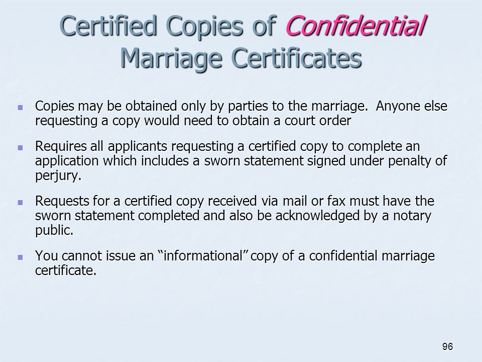 Certified Copies of Confidential Marriage Certificates