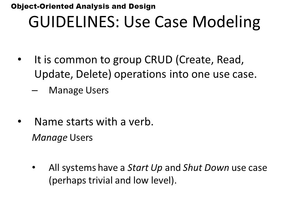GUIDELINES: Use Case Modeling