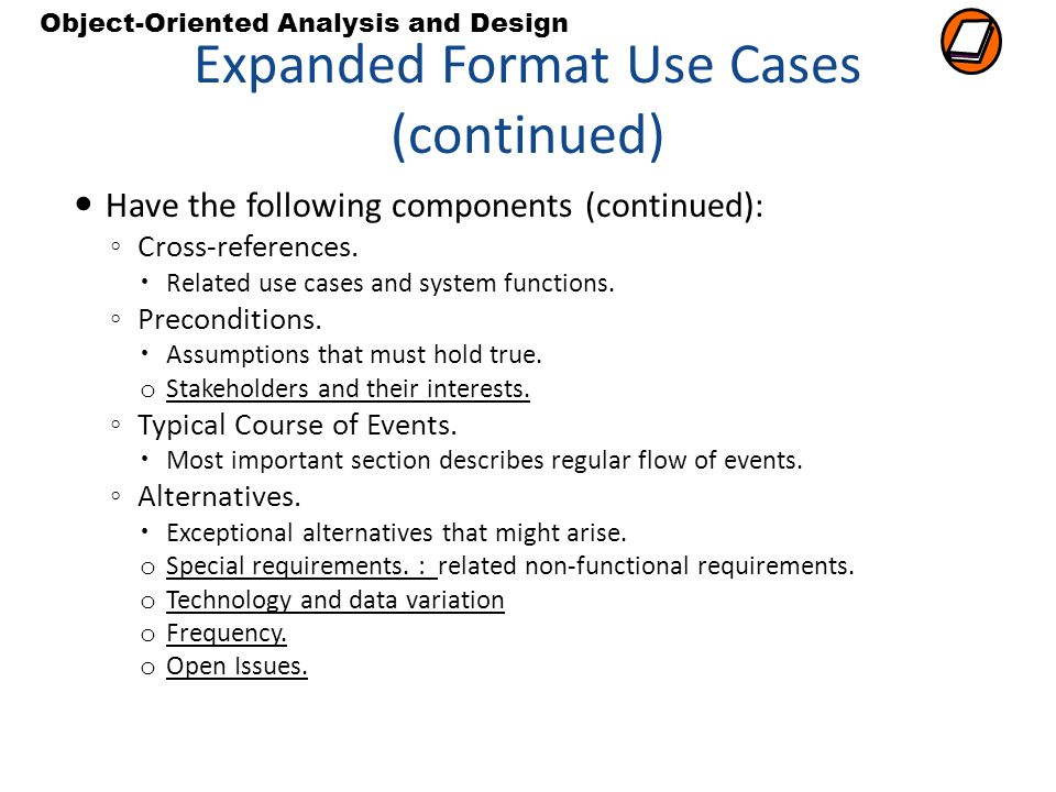 Expanded Format Use Cases (continued)