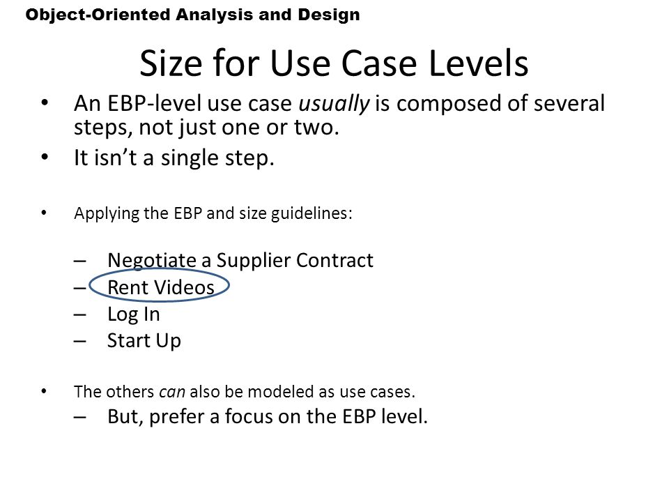 Size for Use Case Levels
