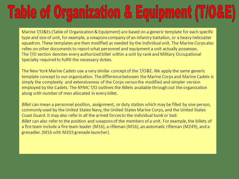 Table Of Organization Introduction Ppt Download