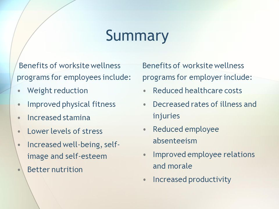 Summary Weight reduction Improved physical fitness Increased stamina