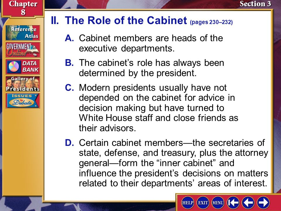 what is the role of cabinet members splash screen ppt 28313
