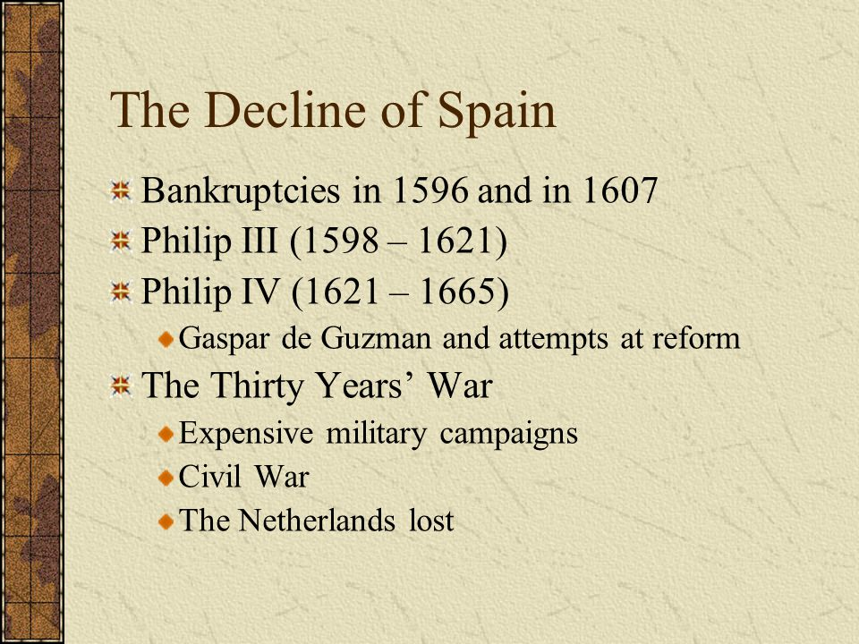 The Decline of Spain Bankruptcies in 1596 and in 1607