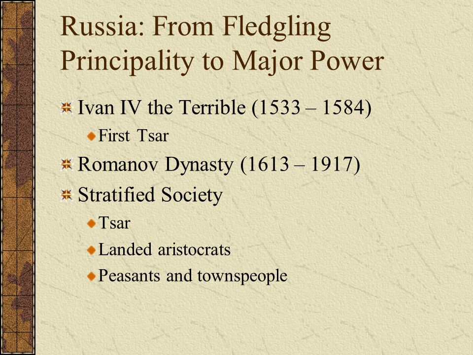 Russia: From Fledgling Principality to Major Power