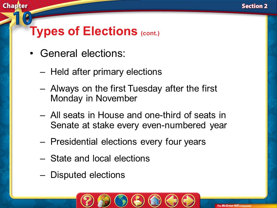 Types of Elections (cont.)