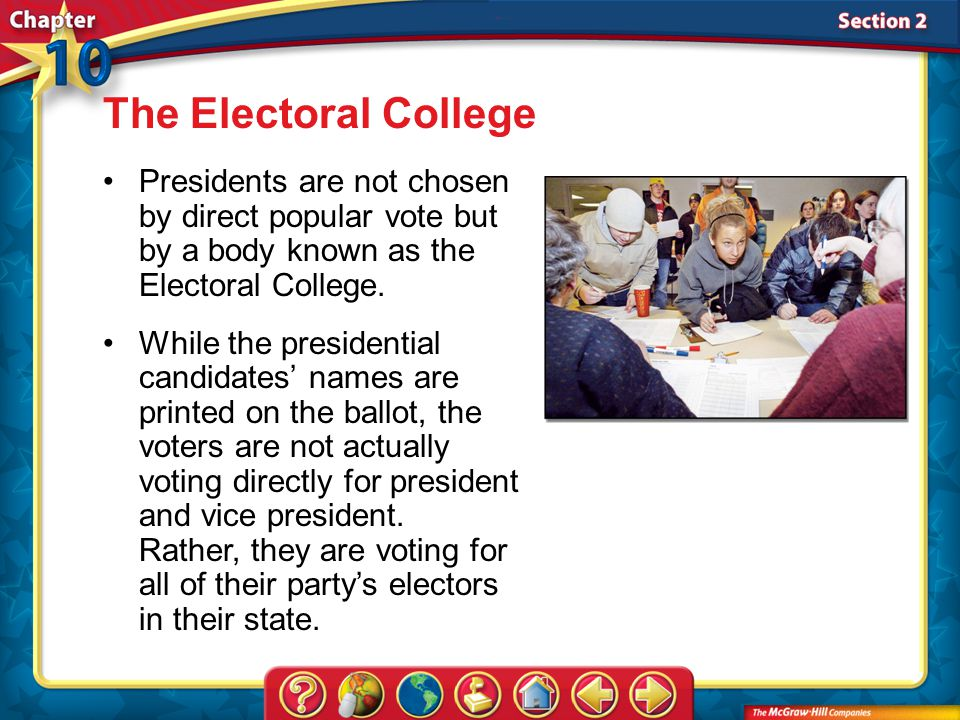 The Electoral College Presidents are not chosen by direct popular vote but by a body known as the Electoral College.