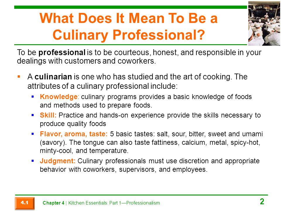Chapter 4 Kitchen Essentials Part 1 Professionalism Ppt
