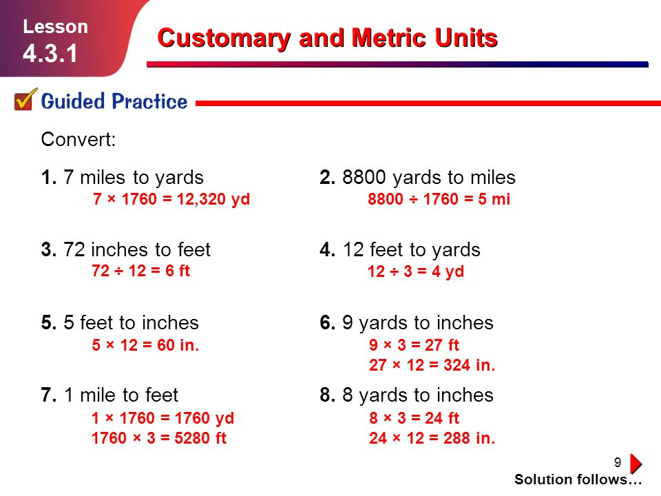 9 Customary And Metric Units