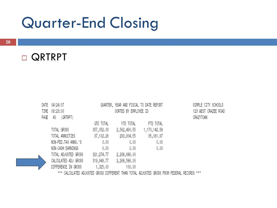 Quarter-End Closing QRTRPT