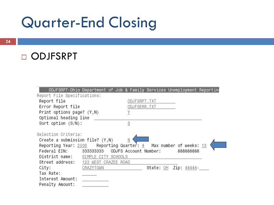 Quarter-End Closing ODJFSRPT