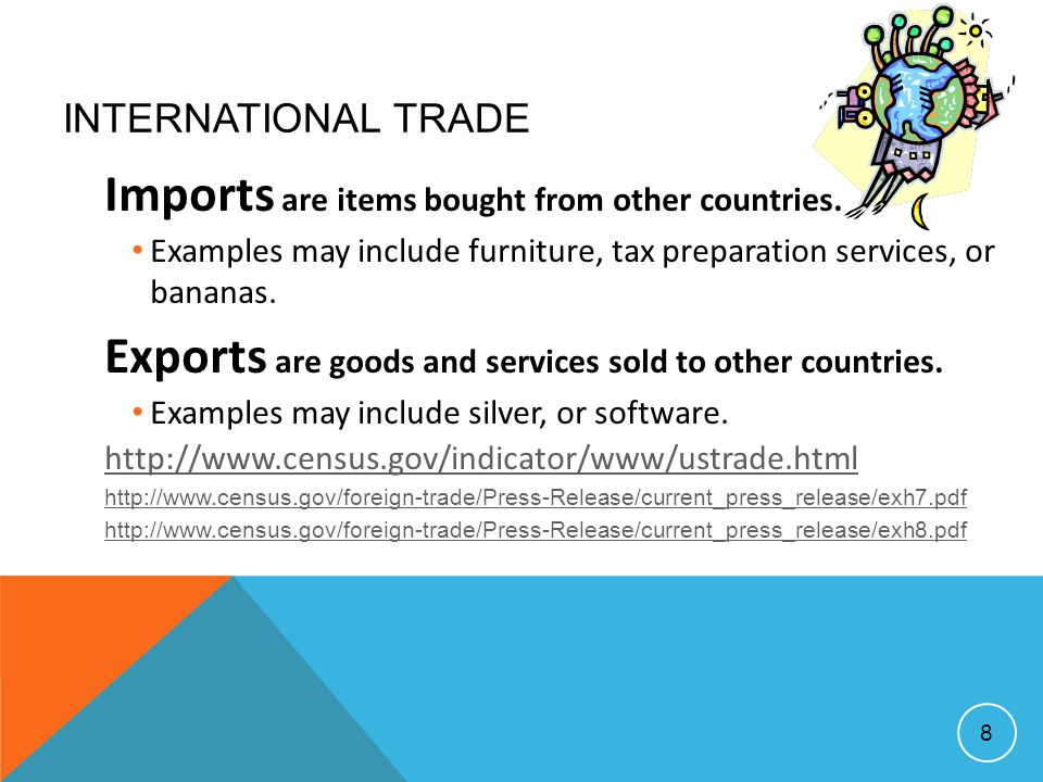 Imports are items bought from other countries.