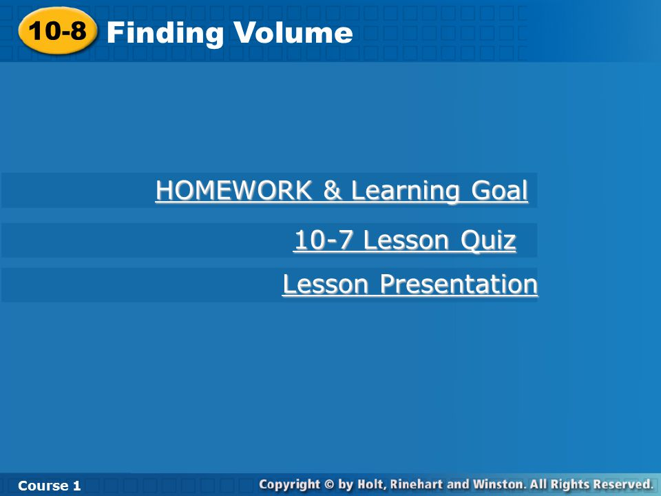 HOMEWORK & Learning Goal