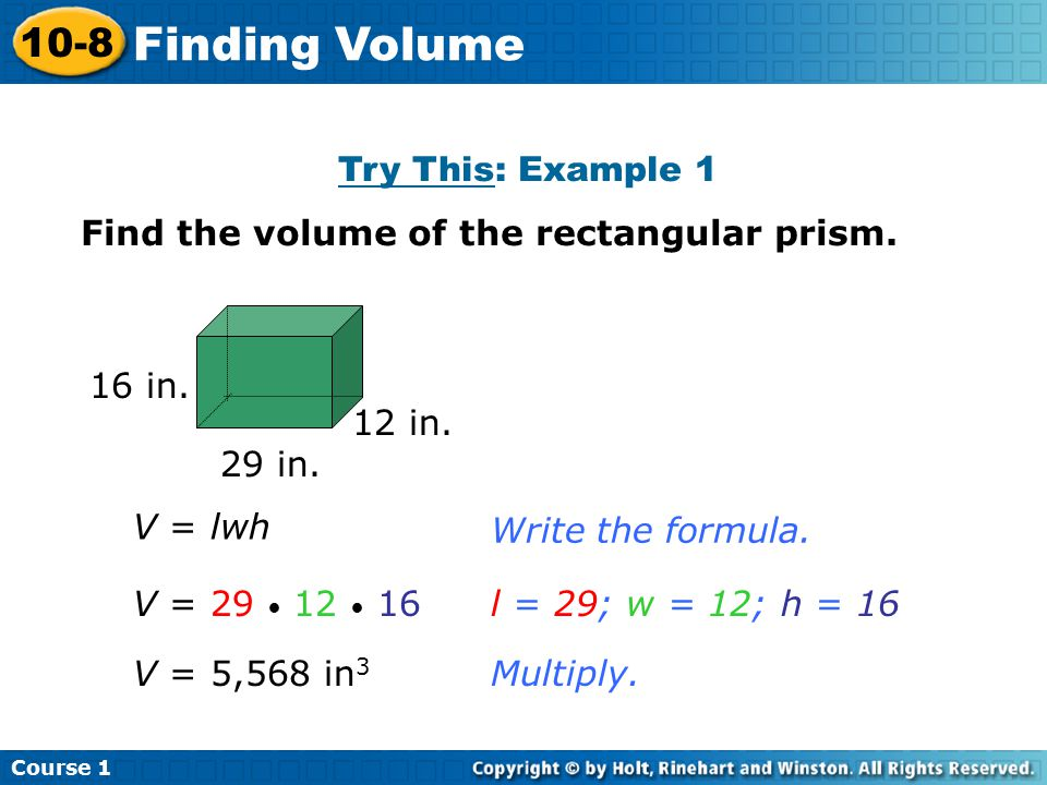 Finding Volume 10-8 Try This: Example 1