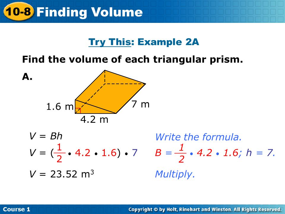 Finding Volume 10-8 Try This: Example 2A