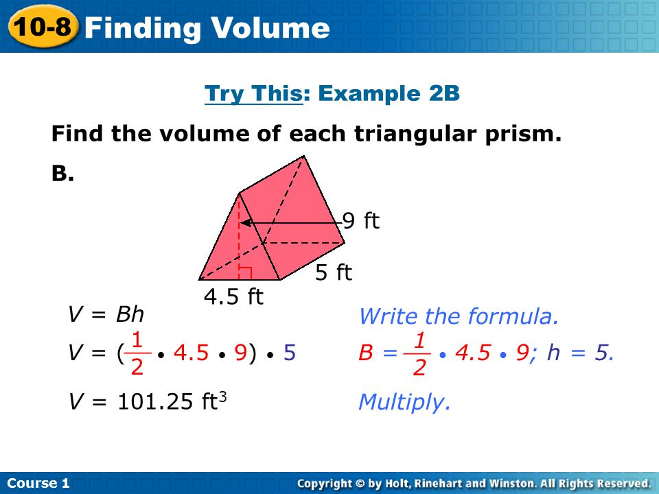 Finding Volume 10-8 Try This: Example 2B