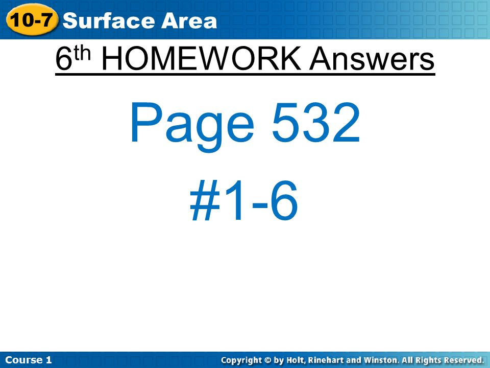 Course Surface Area 6th HOMEWORK Answers Page 532 #1-6