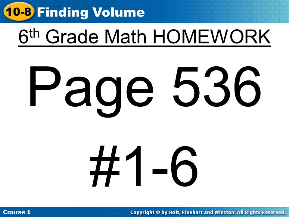 Course Finding Volume 6th Grade Math HOMEWORK Page 536 #1-6