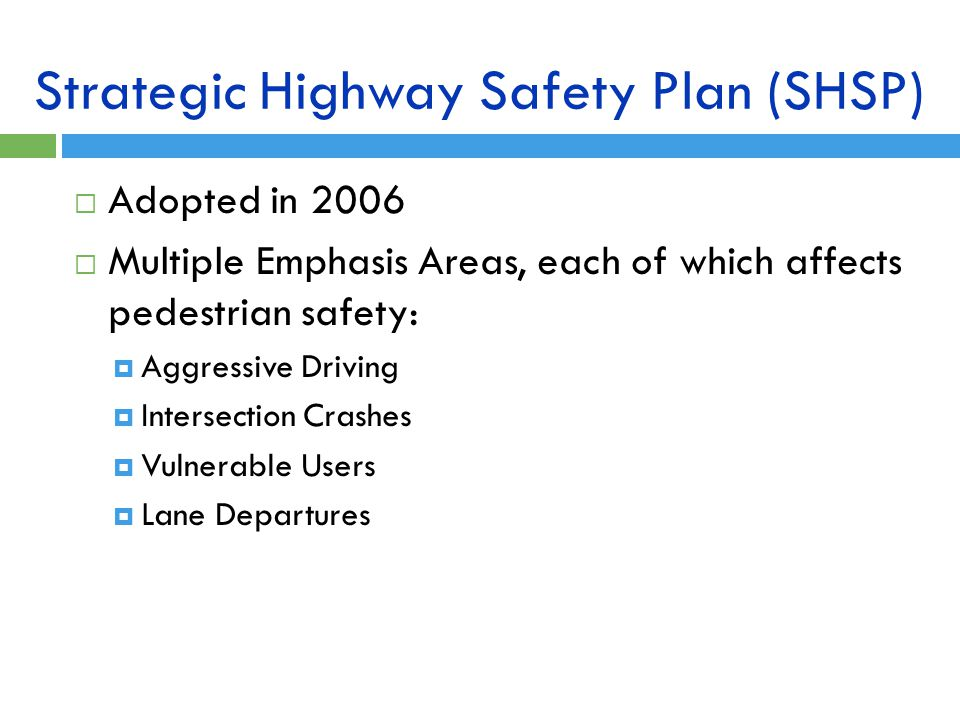 Strategic Highway Safety Plan (SHSP)