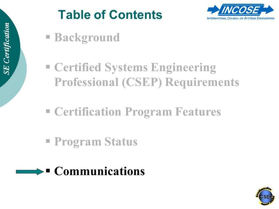 INCOSE Certification of Systems Engineers - ppt download