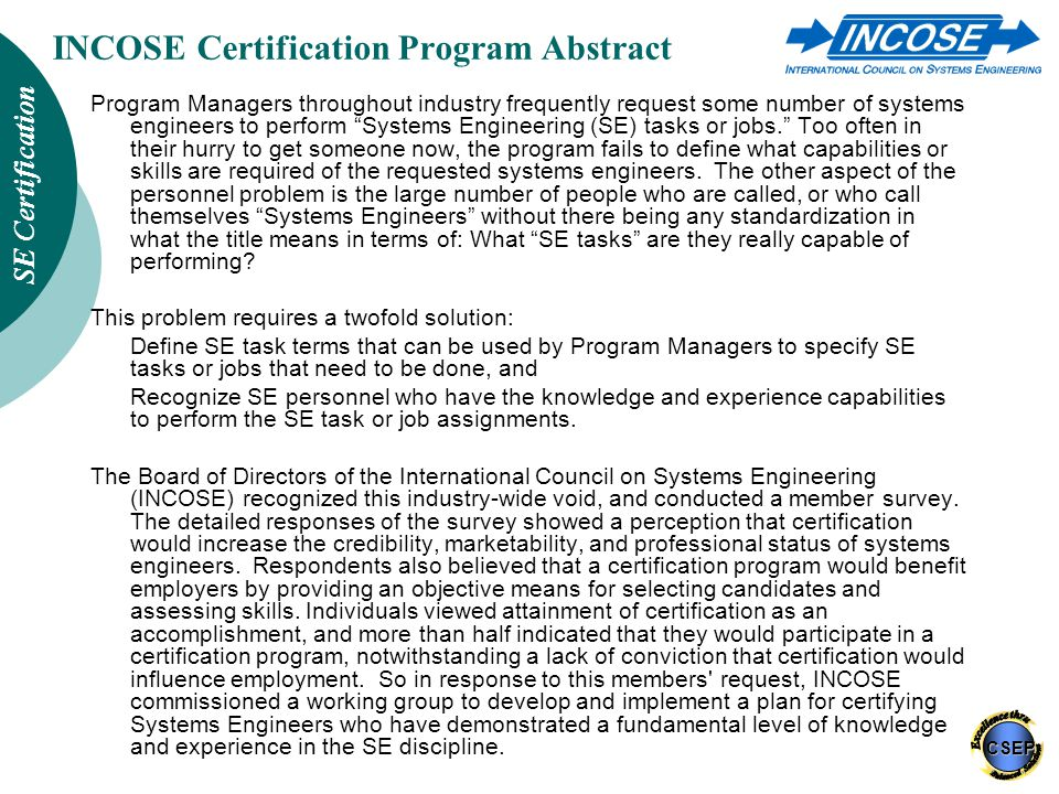 Incose Certification Of Systems Engineers Ppt Download