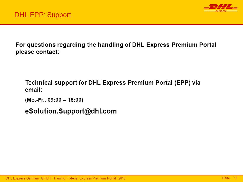DHL Express Premium Portal Training material - ppt video online download