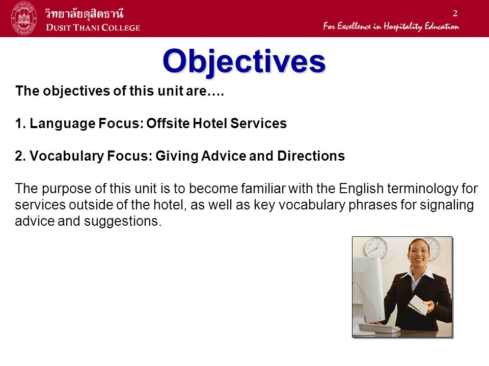 LA English for the Hotel Business Unit 8: Off-Site Services - ppt