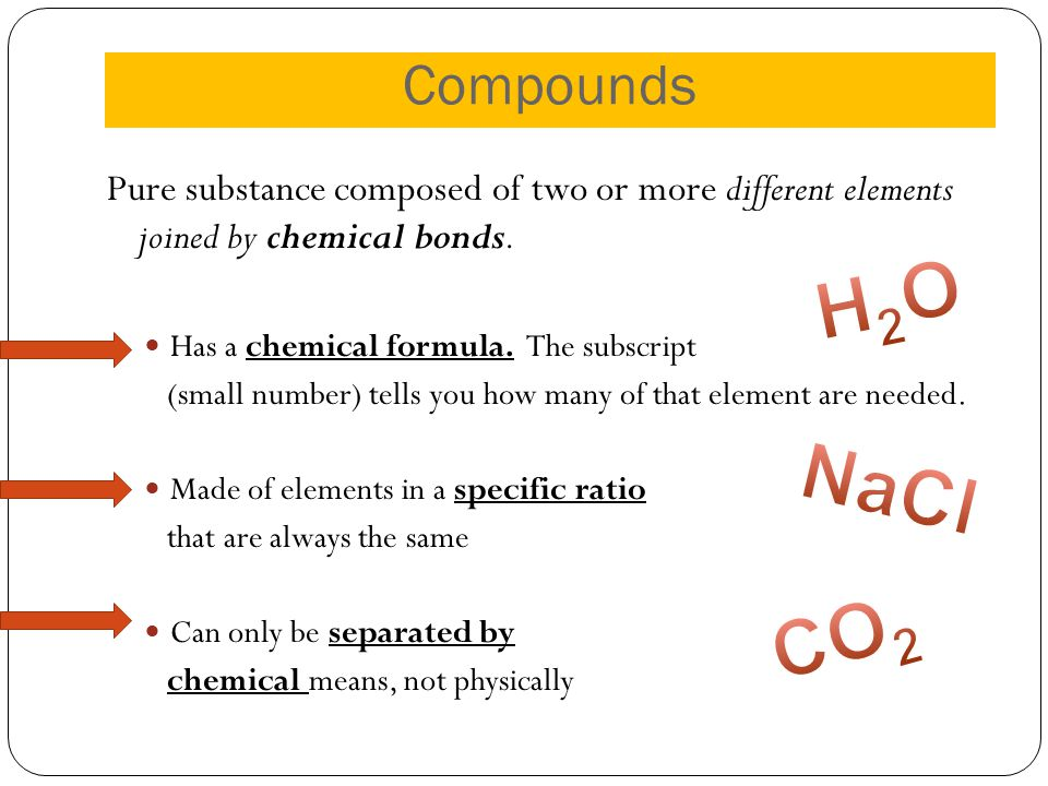 Compounds Pure substance composed of two or more different elements joined by chemical bonds. Has a chemical formula. The subscript.