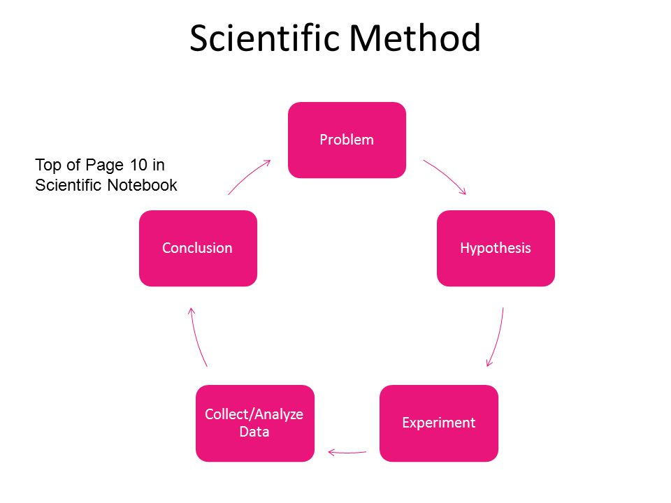 Scientific Method Top of Page 10 in Scientific Notebook Problem