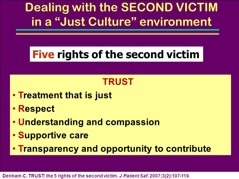 Dealing with the SECOND VICTIM in a Just Culture environment