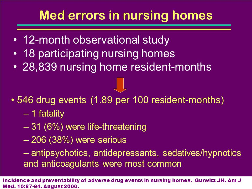 Med errors in nursing homes