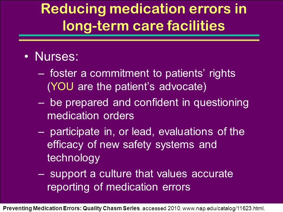 Reducing medication errors in long-term care facilities