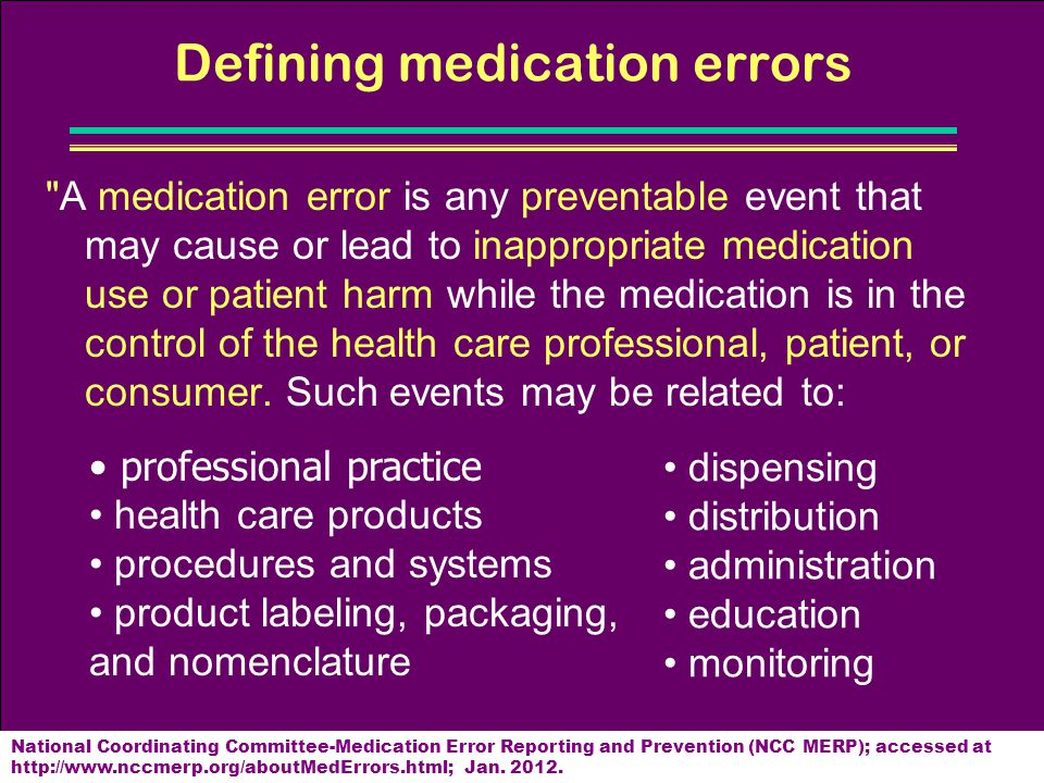 Defining medication errors