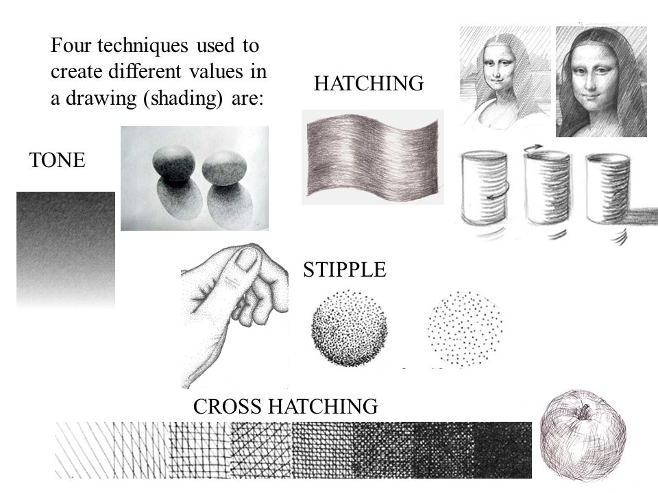 HATCHING Four techniques used to create different values in a drawing (shading) are: TONE. STIPPLE.