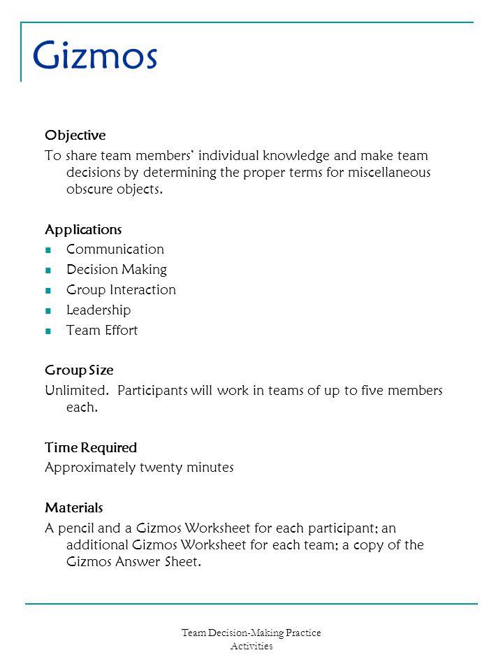 Team Decision-Making Practice Activities - ppt download