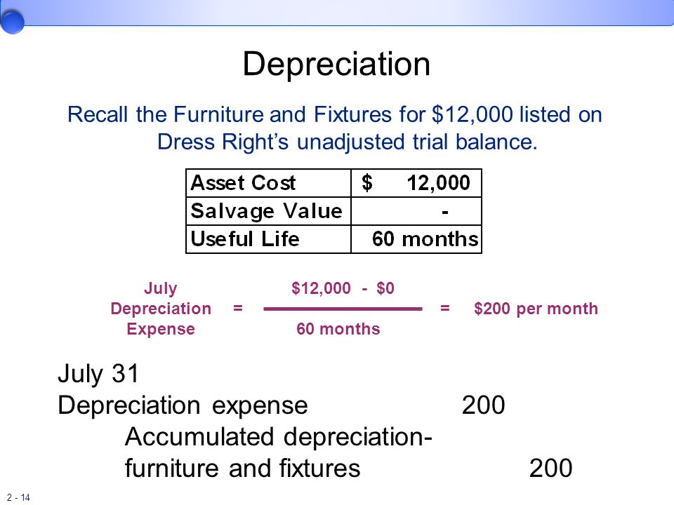 Depreciation July 31 Depreciation expense 200