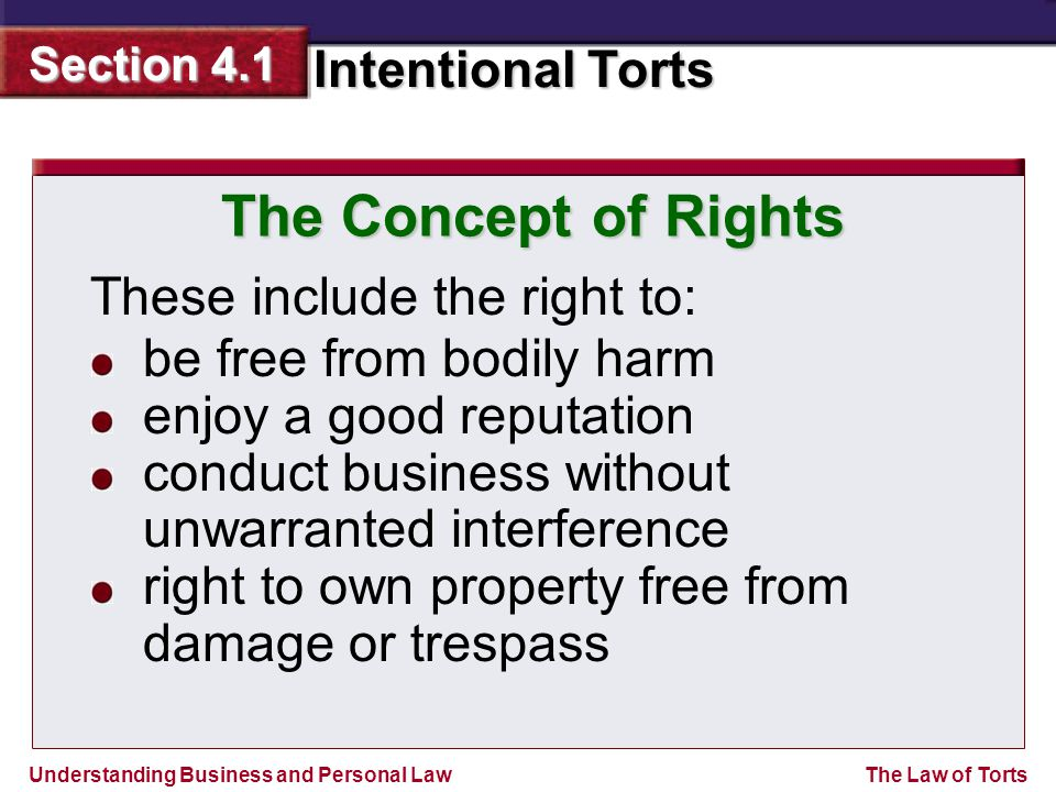 The Concept of Rights These include the right to: