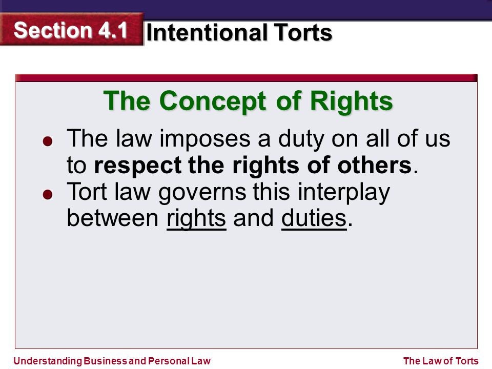 The Concept of Rights The law imposes a duty on all of us to respect the rights of others.