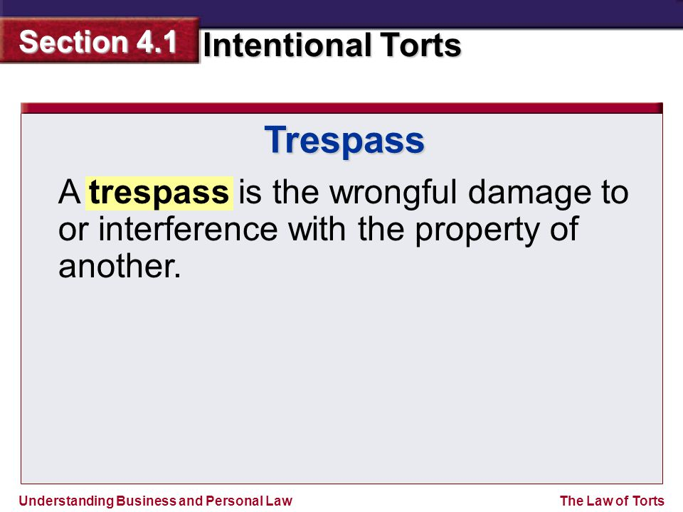 Trespass A trespass is the wrongful damage to or interference with the property of another.
