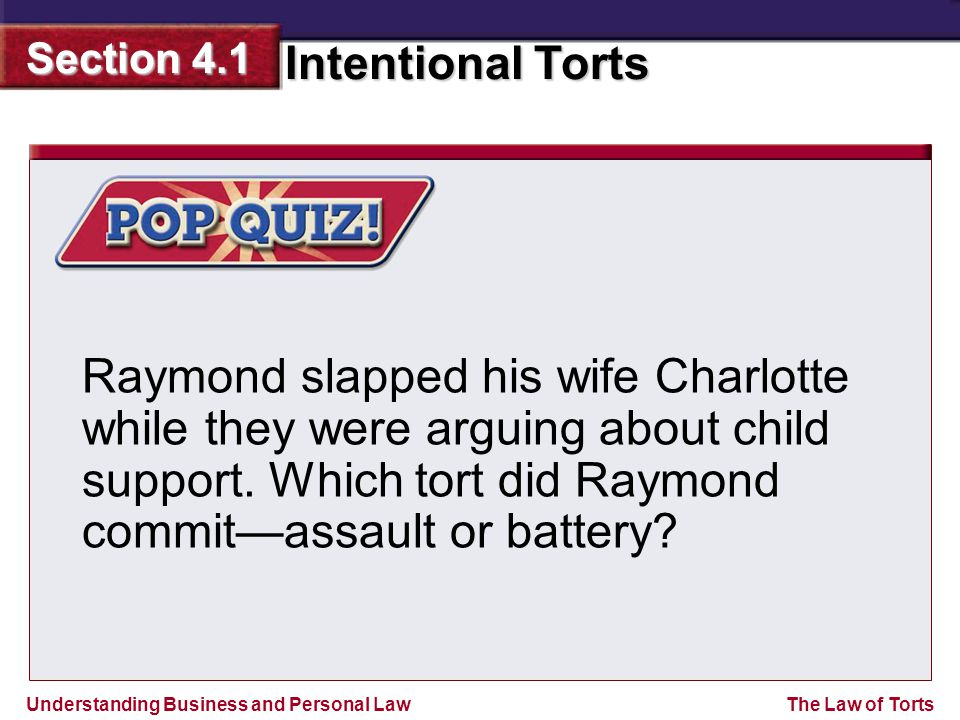 Raymond slapped his wife Charlotte while they were arguing about child support.