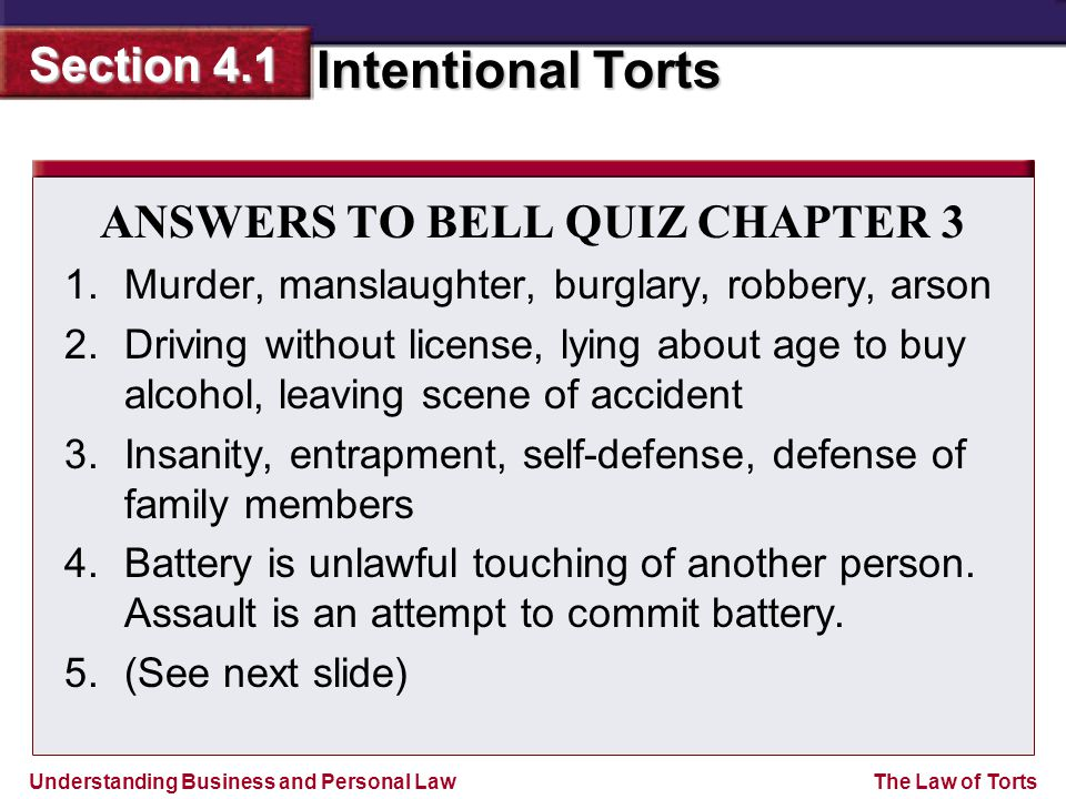 ANSWERS TO BELL QUIZ CHAPTER 3
