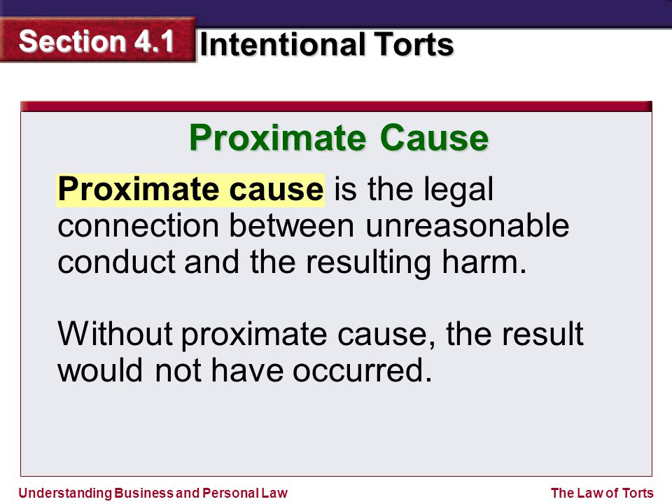 Proximate Cause Proximate cause is the legal connection between unreasonable conduct and the resulting harm.