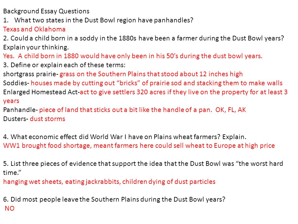 what caused the dust bowl essay